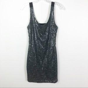 Aqua Sequin Mini Dress with Cutout Back Grey Small